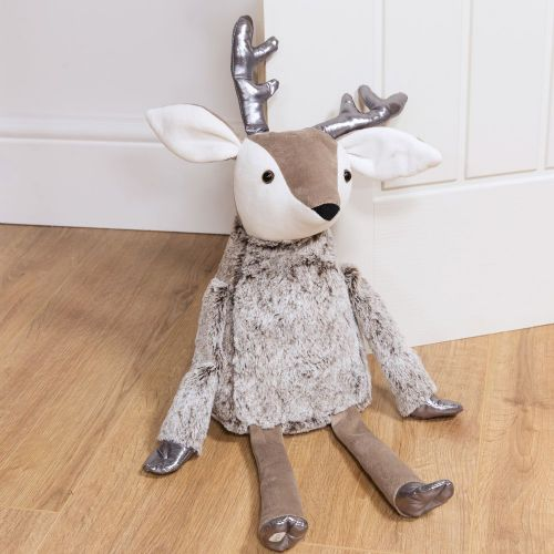 Reindeer Doorstop Grey Fur and Silver Christmas door stop